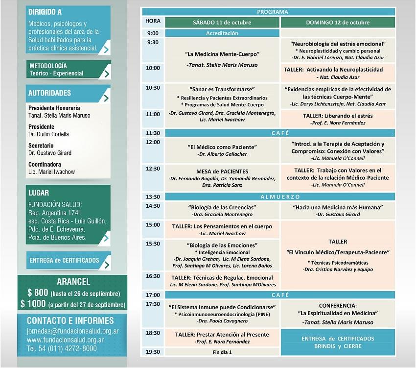 Los esperamos el 11 y 12 de octubre : Aplicaciones terapéuticas de la Psicoinmunoneuroendocrinología